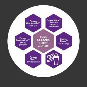 Inhalt der Clean 9 Pakete von Forever Living